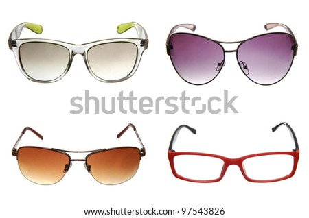 set of different sunglasses isolated on white