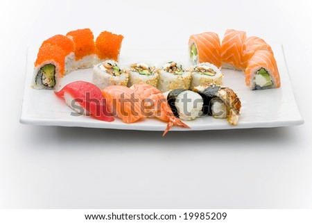 Set of different sushi and maky types - stock photo