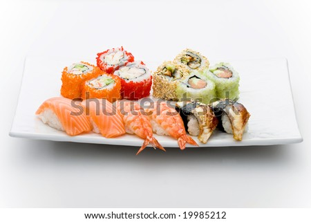 Set of different sushi and maky types