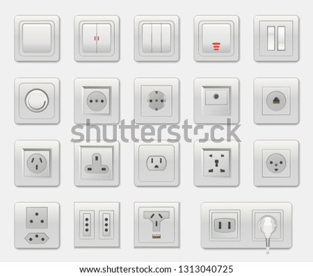 Set of different switches raster illustration isolated on white backdrop, varied connectors and selectors, usb and ethernet port, one socket plug