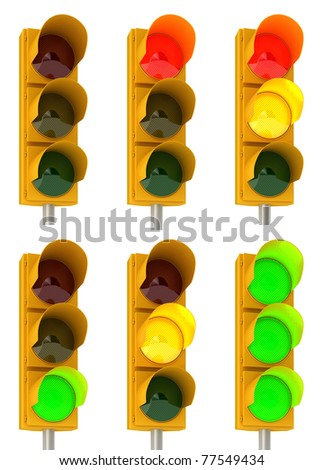 Set of different traffic light combinations over white - stock photo