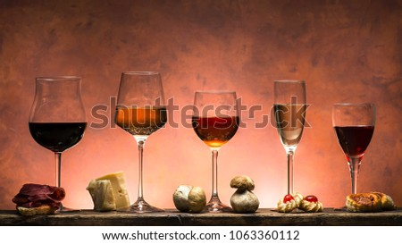 set of different types of wines with food pairing