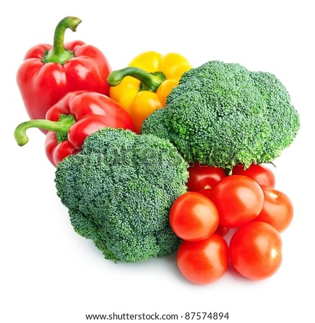Set of different vegetables over white background.