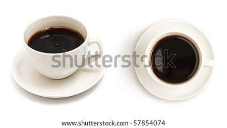 Set of different views to black coffee cup isolated on white - stock photo