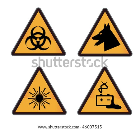 set of different warning and hazard signs