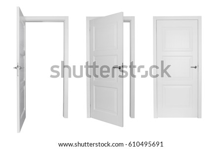 Set of different white door isolated on white background #610495691