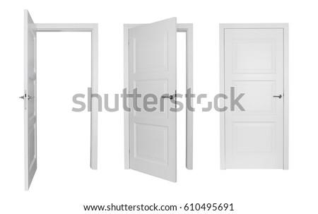 set of different white door...