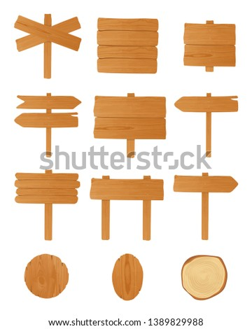 Set of different wooden signboards, planks, pointers. Colorful empty singposts collection. illustration in cartoon style