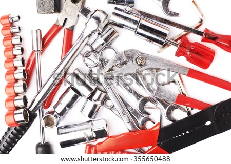 Set of different work tools over white isolated background #355650488