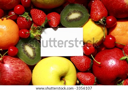 set of differents fresh fruit on top view with blank space