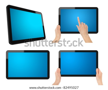 Set of Digital Tablet PC. Each tablet have a clipping path for screen, tablet and hands.