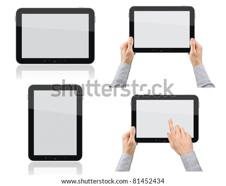 Set of digital tablet pc with businessman hands. Isolated on white. - stock photo
