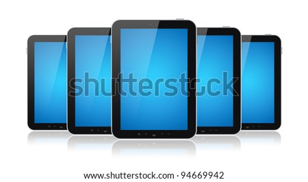 Set of digital tablets with blank blue screen isolated on white.
