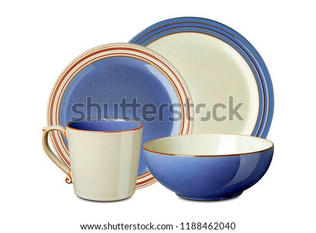 Set of dinnerware on white background with space for text. Interior element. blue dishware set. Concept of restaurant, cooking and service.