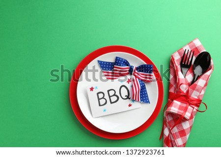 Set of dishware on color background, top view. USA Independence Day