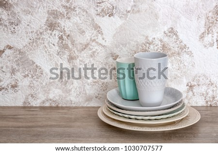Set of dishware on table #1030707577