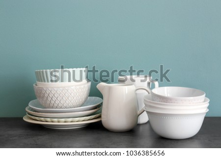 Set of dishware on table #1036385656