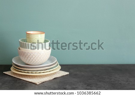 Set of dishware on table #1036385662