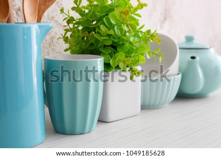 Set of dishware on table #1049185628