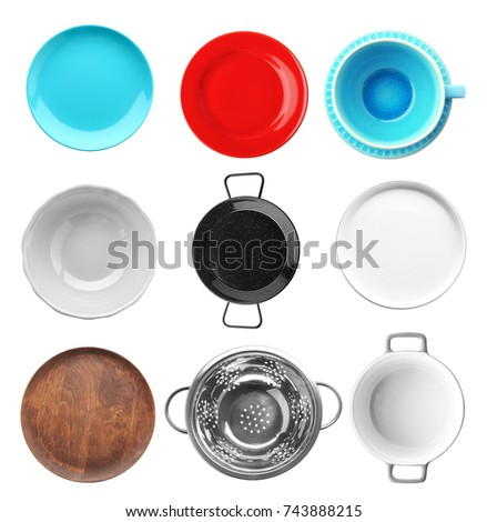 Set of dishware on white background #743888215