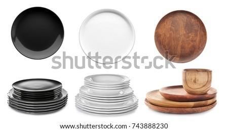 Set of dishware on white background #743888230