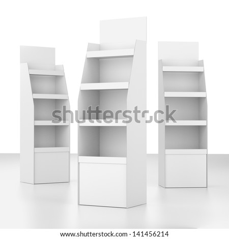 set of displays with shelves  on white. render