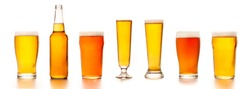 Set of diverse beers in different glasses for clients. Bottle, glass, tall glasses with light tasty cold ale and lager, isolated on white background, empty space, studio shot, panorama, mockup