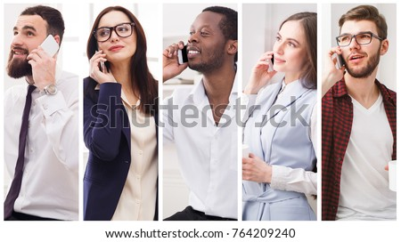 Set of diverse people using mobile. Collage of smiling young men and women having pleasant conversation on smartphone. Communication making people closer and technology concept #764209240
