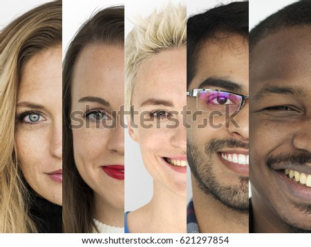 Set of Diversity People Happy Face Expression Emotion Studio Collage #621297854