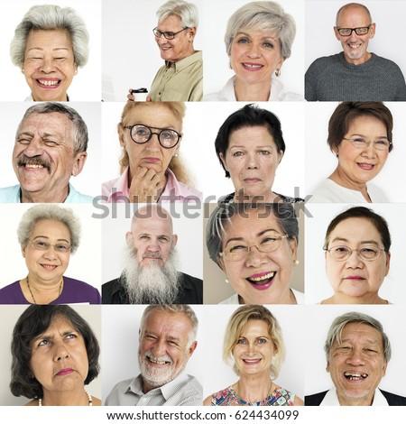 set of diversity senior adult...