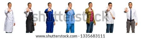 Set of doctor, barber and businessman counting five with fingers #1335683111