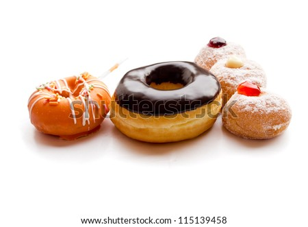set of donuts on white background