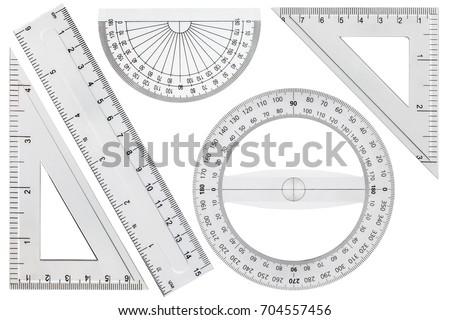 Set of drawing tools, ruler, protractor triangle, isolated on white background