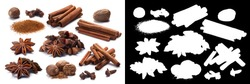 Set of dried spices: Cinnamon, Nutmeg, Star anise (Badiam), Cloves. Clipping paths for each object, shadows separated