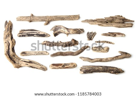 Set of driftwood isolated on white background. Pieces of river drift wood.   #1185784003