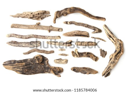 Set of driftwood isolated on white background. Pieces of river drift wood.   #1185784006