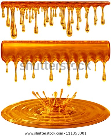 set of dripping and splash golden honey or caramel