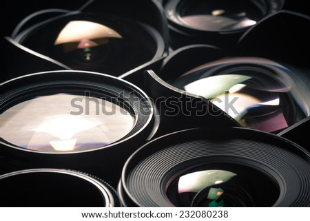 Set of DSLR lenses, different sizes and reflections. #232080238