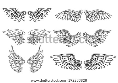 Set of eagle or angel wings for heraldry and tattoo design Vector version also available in gallery