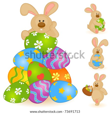 Set of Easter Bunnies with colored eggs. Easter card