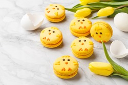 Set of easter macaroon chicks with yellow tulips and eggs over marble background. Side view, close up, copy space. Easter treat, holiday symbol