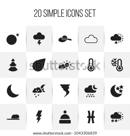 Set of 20 editable air icons. Includes symbols such as sunny weather, hat, crescent overcast and more. Can be used for web, mobile, UI and infographic design.
