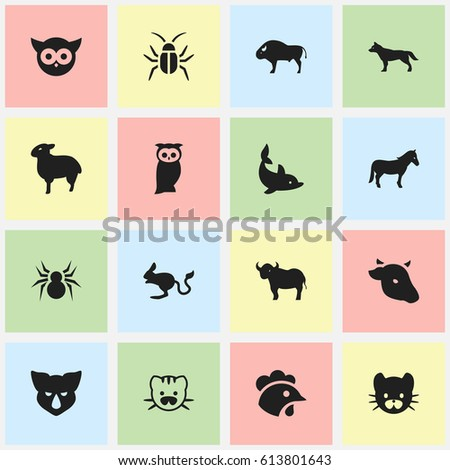 Set Of 16 Editable Animal Icons. Includes Symbols Such As Bison, Arachind, Ox And More. Can Be Used For Web, Mobile, UI And Infographic Design.