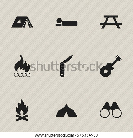 Set Of 9 Editable Camping Icons. Includes Symbols Such As Clasp-Knife, Field Glasses, Musical Instrument And More. Can Be Used For Web, Mobile, UI And Infographic Design.