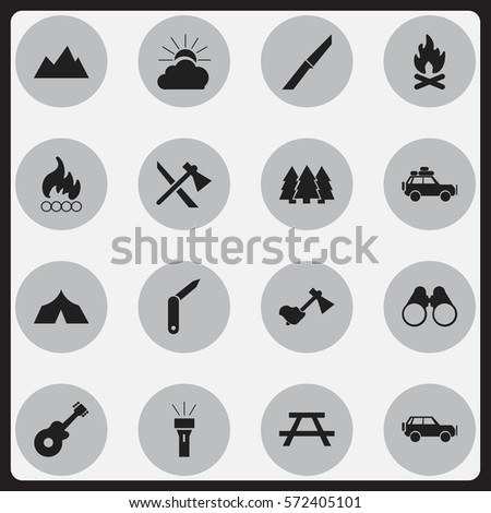 Set Of 16 Editable Camping Icons. Includes Symbols Such As Knife, Clasp-Knife, Sunrise And More. Can Be Used For Web, Mobile, UI And Infographic Design.