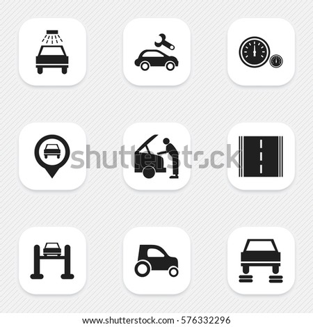 Set Of 9 Editable Car Icons. Includes Symbols Such As Auto Service, Pointer, Car Lave And More. Can Be Used For Web, Mobile, UI And Infographic Design.