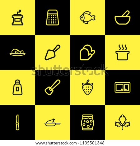 Set of 16 editable cook icons line style. Includes symbols such as chicken, jam jar, seafood and more. Can be used for web, mobile, UI and infographic design.