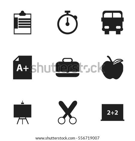 Set Of 9 Editable Education Icons. Includes Symbols Such As Supervision List, Portfolio, Cutting And More. Can Be Used For Web, Mobile, UI And Infographic Design.