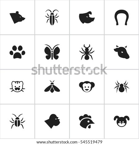 Set Of 16 Editable Nature Icons. Includes Symbols Such As Forepaw, Bull, Rooster And More. Can Be Used For Web, Mobile, UI And Infographic Design.