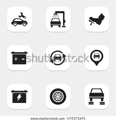 Set Of 9 Editable Transport Icons. Includes Symbols Such As Auto Repair, Treadle, Pointer And More. Can Be Used For Web, Mobile, UI And Infographic Design.